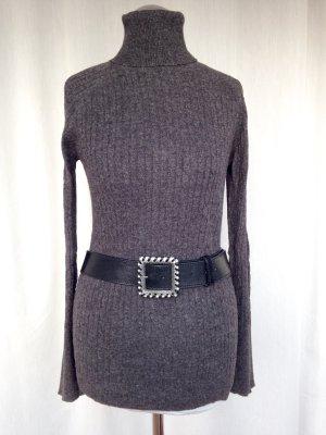 Pullover mit Angora Zopfmuster Rollkragen Strickpullover