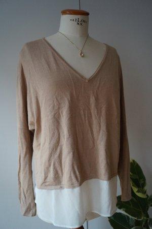 Pullover mit Bluse Gr. 38 V-Ausschnitt