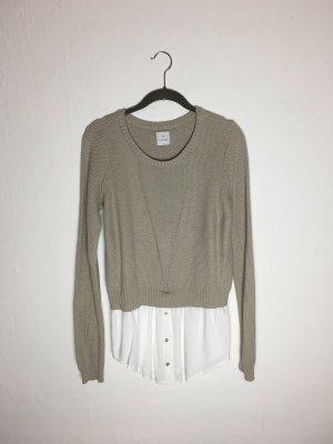 Pullover mit Bluse von Culture - Sweater Strick beige braun weiß Gr. M