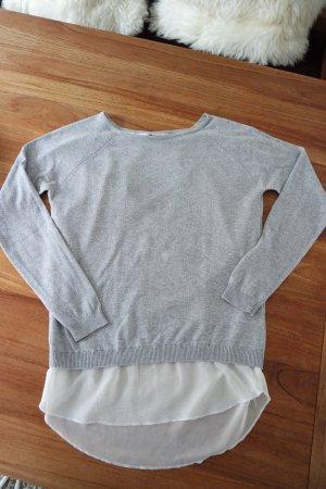 Pullover mit Bluseneinsatz am Saum und am Rücken Gr. S