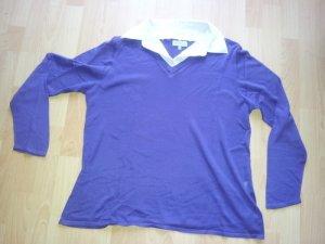 Pullover mit Blusenkragen lila weiß