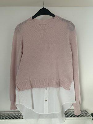H&M Cárdigan de punto fino blanco-rosa empolvado