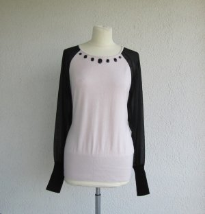 Biba Jersey de cuello redondo negro-rosa tejido mezclado