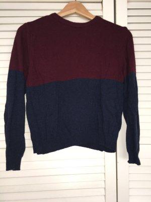 Pullover mit dunkelrot/blauem Blockmuster