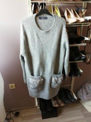 Zara Woman Pull col en V gris clair-gris
