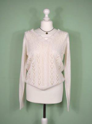 Pullover mit gehäkelter Vorderseite in Schneeweiß