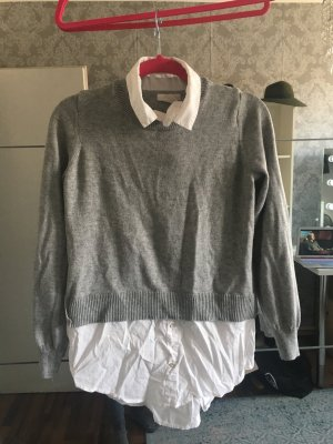 H&M Lange jumper wit-lichtgrijs