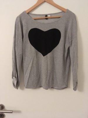 H&M Pull long noir-gris clair