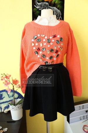 Pullover mit Herz aus Strasssteinchen Koralle