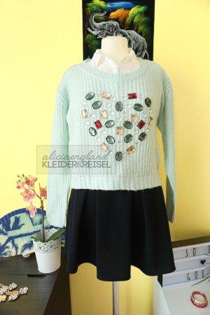 Pullover mit Herz aus Strasssteinchen Mint