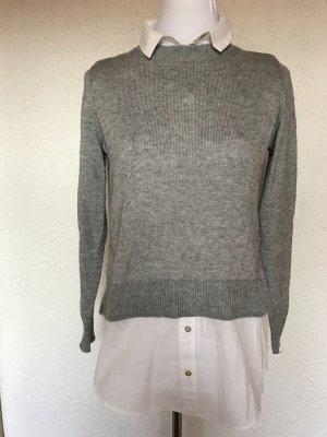 Pullover mit integrierter Bluse H&M Gr.XS grau weiß