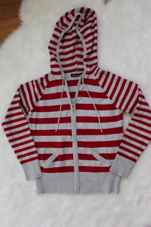 Hooded Sweater light grey-red cotton