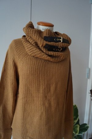 Pullover mit Kragen und Lederbändern Gr. 38/40