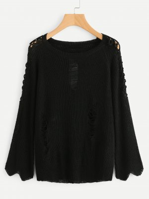 Pullover mit Kreuzgurte auf den Ärmeln und Rissen Details NEU