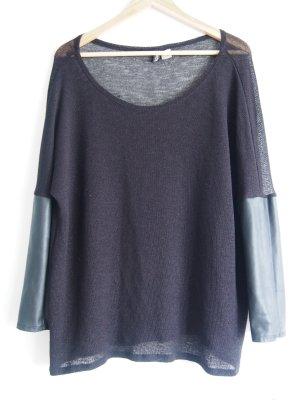 Pullover mit Lederärmel in der Größe L