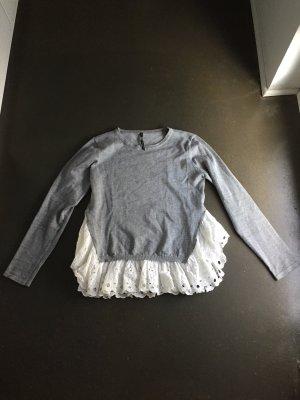 Jersey de cuello redondo gris claro-blanco