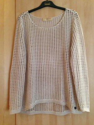 Pullover mit Löcher Gr. L von Tom Tailor in Beige