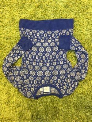 Pullover mit Ornamentmuster in blau/weiß