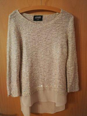 Pullover mit Pailletten und Bluseneinsatz