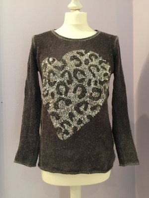 Pullover mit Paillettenbesatz in Leo Optik