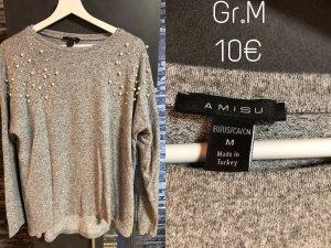 Amisu Kraagloze sweater lichtgrijs