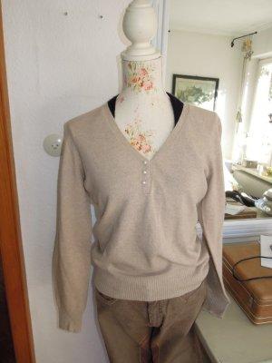 Pullover mit Perlen V-Ausschnitt Wolle Gr. 38 Beige NEU