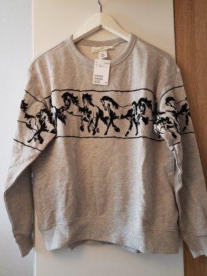 Pullover mit Pferden grau schwarz XS neu mit Etikett
