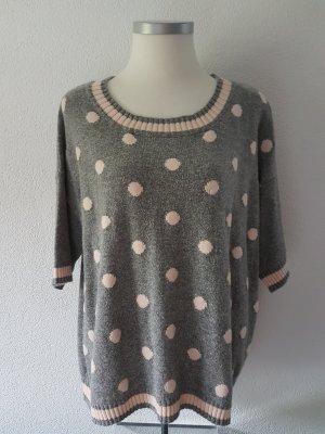 Kaffe Sweater met korte mouwen grijs-rosé
