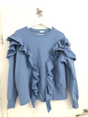 Pullover mit Rüschen in Hellblau