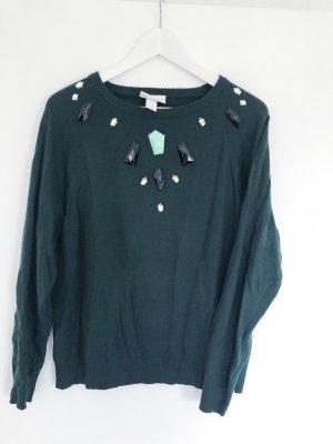 Monki Jersey de cuello redondo verde bosque-turquesa