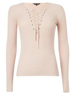 Pullover mit Schnürung - Altrosa