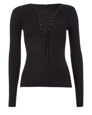 Pullover mit Schnürung - Schwarz