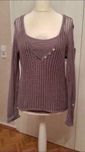 B&C collection Pull en crochet taupe