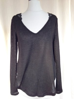 Pullover mit Spitze Tunika Bluse Strickpullover