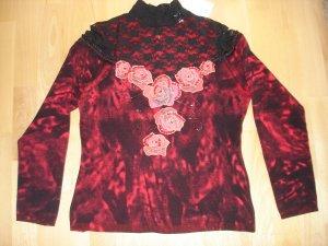 Pullover mit Spitze und Blumen von Madeleine Gr. 40/42
