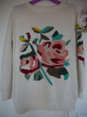 Pullover mit Stickerei, Größe M, Weiß, Neu ohne Etickett