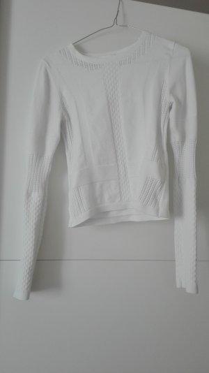 H&M Crewneck Sweater white mixture fibre
