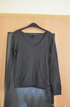 H&M Jersey con cuello de pico gris antracita Algodón