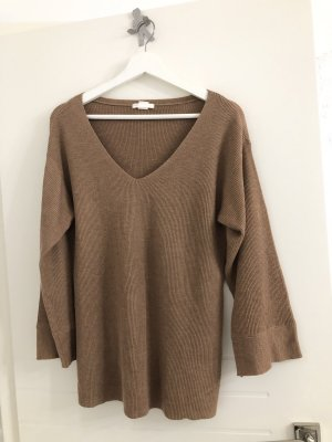 Pullover mit V-Ausschnitt Beige Nude mit weiten Ärmeln