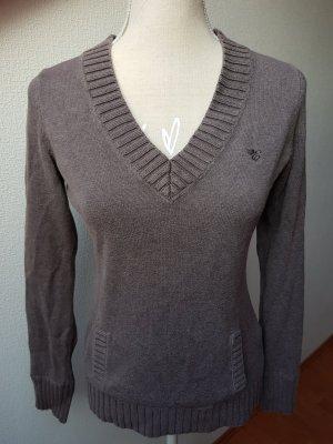 Esprit Pull col en V gris-marron clair coton