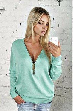 Pullover mit V-Ausschnitt - Reißverschluss Farbe Blau/ Türkis Size: M