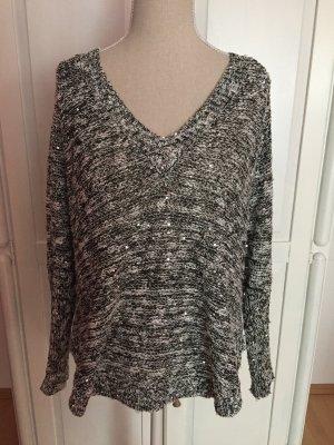 Pullover mit V-Ausschnitt und Glitzer/Glitter