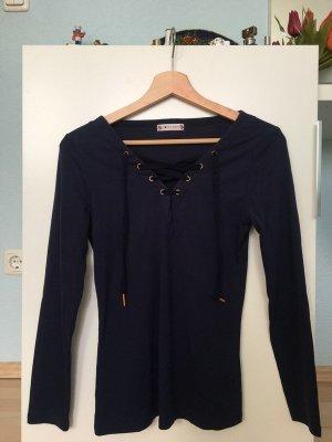 Jersey con cuello de pico azul oscuro