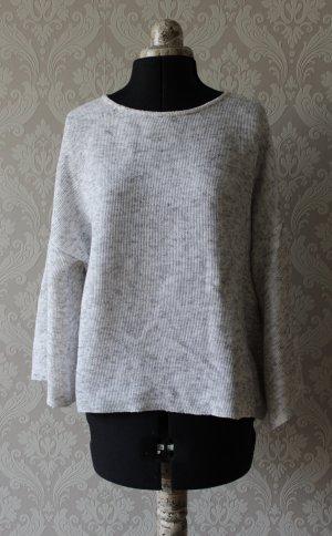 Pullover mit weiten Ärmeln grau meliert