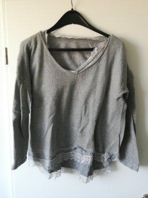 Pullover mit Wollanteil und Spitze
