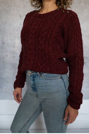 Ann Christine Coarse Knitted Sweater carmine mixture fibre