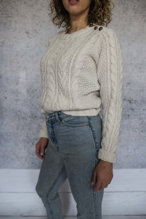 Ann Christine Coarse Knitted Sweater natural white