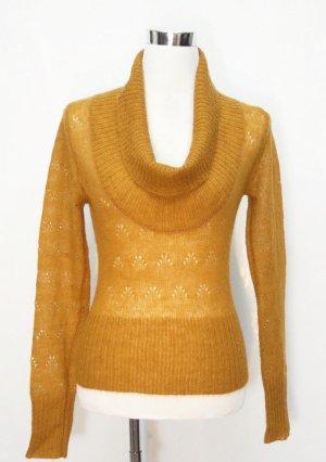 Gehaakte trui zandig bruin-donkergeel Wol