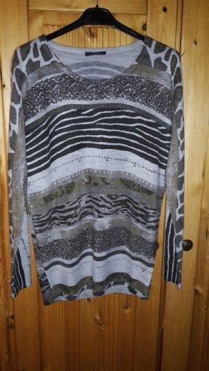 Pullover neuwertig grau mit Tiermuster