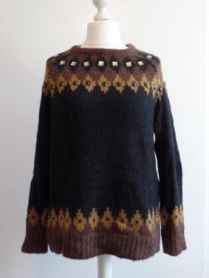 Pullover Norweger mit Schmucksteinchen von Mango, Gr. XL